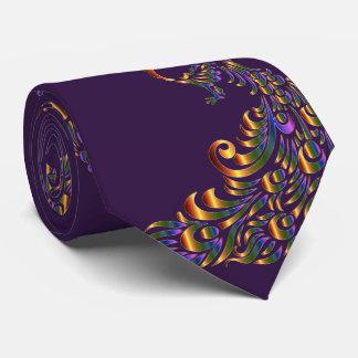 Peacock Print Gold Green Necktie
