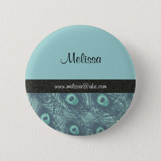 Peacock Print Name Template Button/Lapel Pin