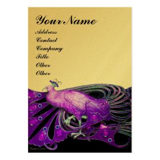 PEACOCK purple black ,gold metallic paper Large Business Card