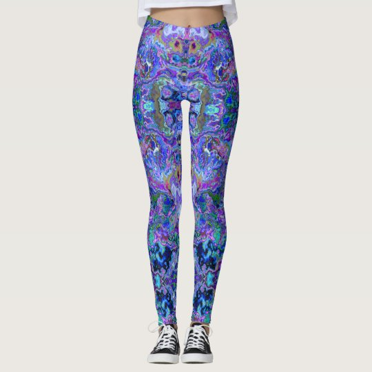 Peacock Purple, Blue and Green Marbled Look Leggings
