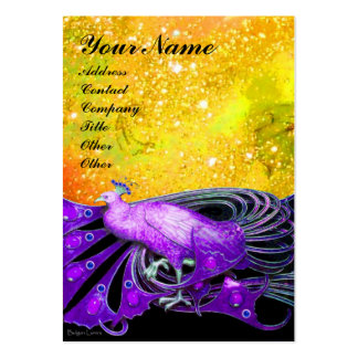 PEACOCK purple yellow black sparkle Large Business Card