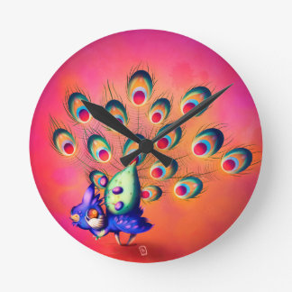 Peacock Round Clock