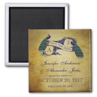 Peacock Rustic Save the Date Square Magnet