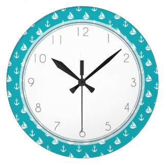 Peacock Sailboats and Anchors Pattern Large Clock
