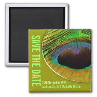 Peacock Save the Date Green Magnet