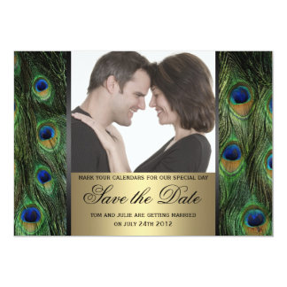 """Peacock Save the Date Photo 5"""" X 7"""" Invitation Card"""