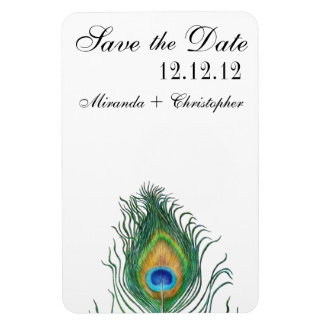 Peacock: Save the Date Rectangular Photo Magnet