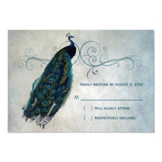 Peacock Scroll RSVP Card