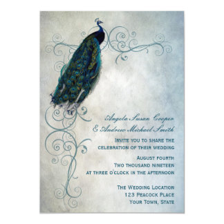 Peacock Scroll Wedding Card