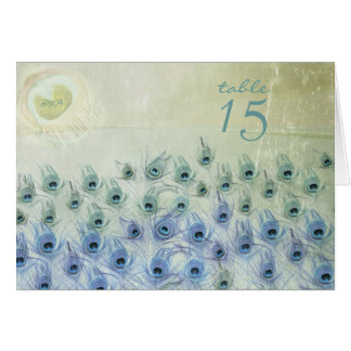 Peacock Sea Fantasy Wedding Table Number Card