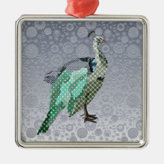 Peacock Silver Floral  Christmas Ornament