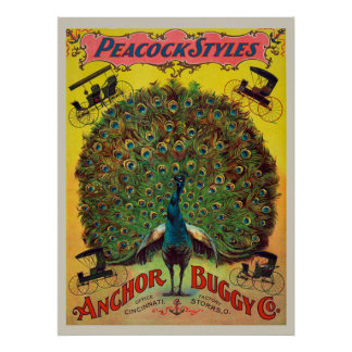 Peacock Style Carriages Vintage Poster