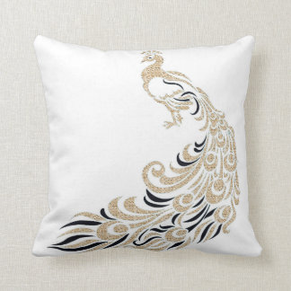 Peacock-Stylish-Gold-Black-Square M-L Throw Pillow