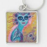 Peacock Sugar Skull Art Silver-Colored Square Keychain