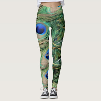 Peacock Tail Feather Blue Eyes With New Leggings