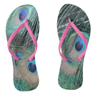 Peacock Tail Feathers Flip Flops