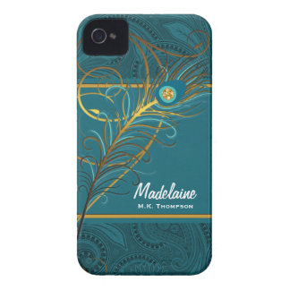 Peacock Teal and Gold Custom Case-Mate iPhone 4 Case