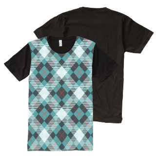 Peacock, Teal & Crimson Diagonal Plaid All-Over-Print T-Shirt