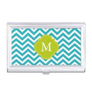 Peacock Teal & Green Zigzags Pattern Monogrammed Business Card Holder