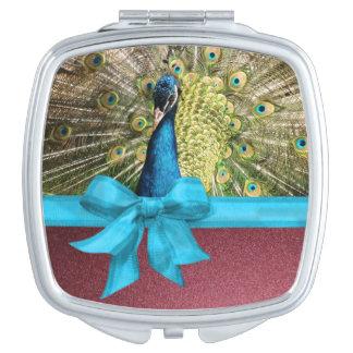 Peacock Teal Mauve Ribbon Compact Mirrors