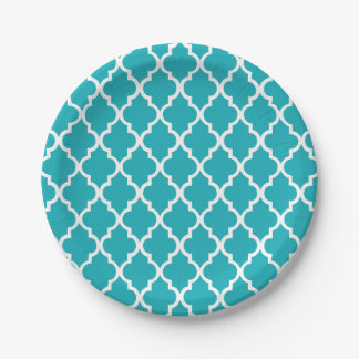 Peacock Teal Quatrefoil Tiles Pattern 7 Inch Paper Plate
