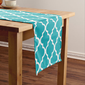 Peacock Teal Quatrefoil Tiles Pattern Short Table Runner