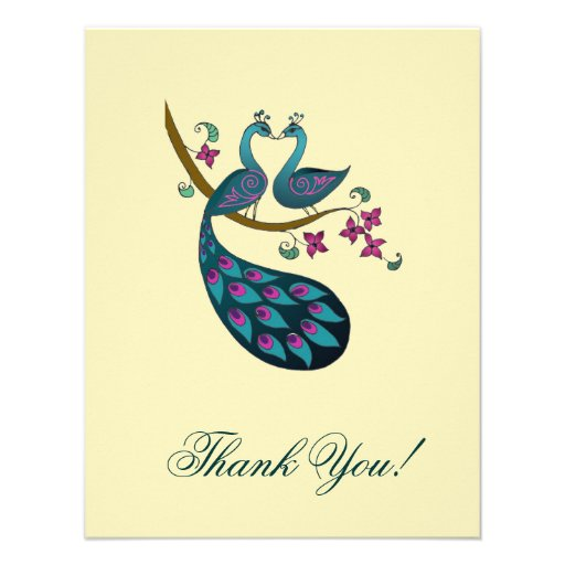 Peacock Thank You cards -ivory Personalized Announcements