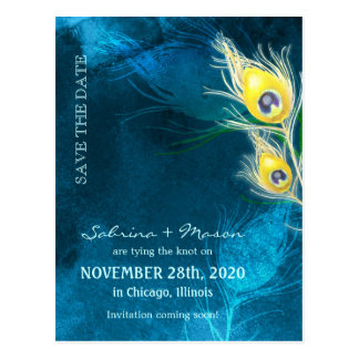 Peacock Theme Rustic Blue Save the Date Postcards