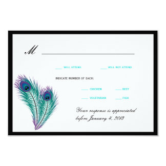 "Peacock Tuxedo RSVP Cards 3.5"" X 5"" Invitation Card"