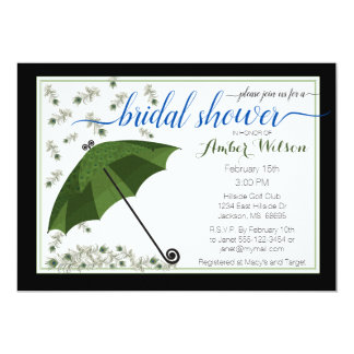 Peacock Umbrella Bridal Shower Invitation