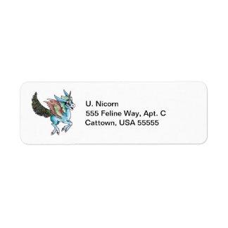 Peacock Unicorn Return Address Label
