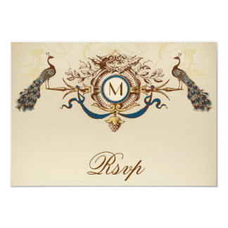 Peacock Vintage RSVP Card For Square Invites