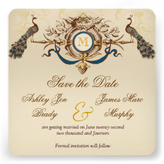 Peacock Vintage Save the Date Cards