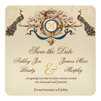 "Peacock Vintage Save the Date Cards 5.25"" Square Invitation Card"