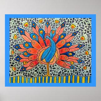Peacock Watercolor Mosaic Poster