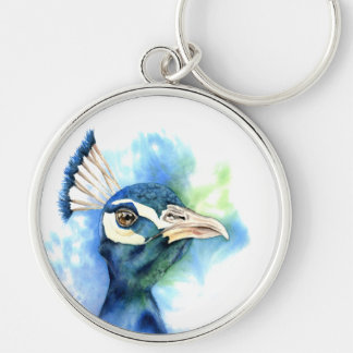 Peacock Watercolor Painting Keychain