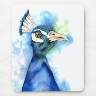 Peacock Watercolor Painting Mouse Pad
