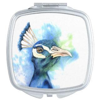 Peacock Watercolor Painting Vanity Mirror