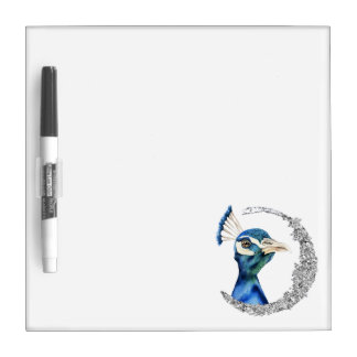 Peacock Watercolor with Faux Silver Glitter Dry Erase Board