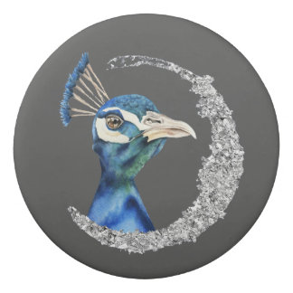 Peacock Watercolor with Faux Silver Glitter Eraser