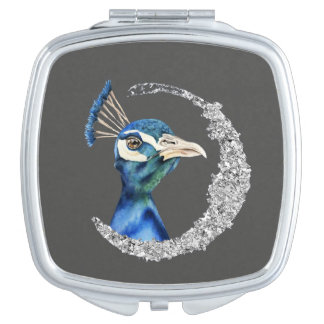 Peacock Watercolor with Faux Silver Glitter Mirrors For Makeup