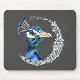 Peacock Watercolor with Faux Silver Glitter Mouse Pad