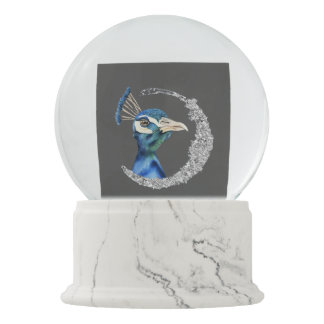 Peacock Watercolor with Faux Silver Glitter Snow Globe
