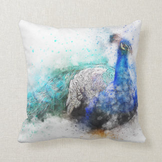 Peacock Watercolour Cushion