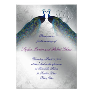 Peacock Wedding Invite Blue Silver Vintage Modern