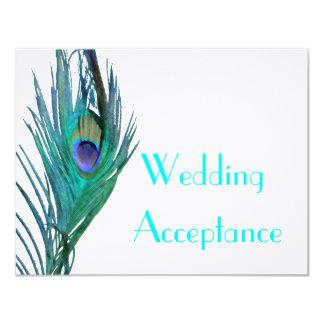 "Peacock Wedding Response #2 4.25"" X 5.5"" Invitation Card"
