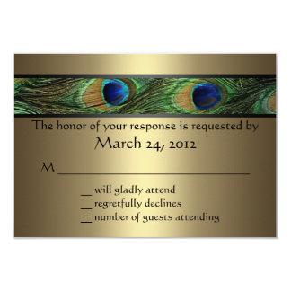 "Peacock Wedding RSVP 3.5"" X 5"" Invitation Card"