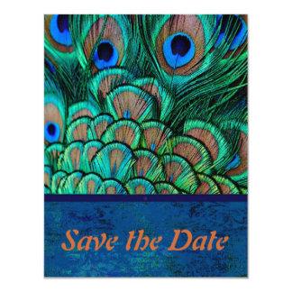 "Peacock Wedding Save the Date card 4.25"" X 5.5"" Invitation Card"