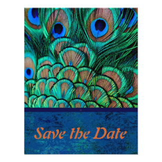 Peacock Wedding Save the Date card