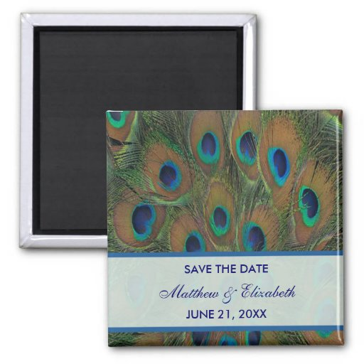 Peacock Wedding Save The Date Refrigerator Magnets